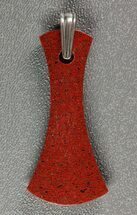 Gorgeous, Red Dinosaur Bone (Gembone) Axe Pendant For Sale, #84741