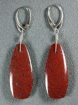 Ruby Red, Agatized Dinosaur Bone (Gembone) Earrings  For Sale, #84744