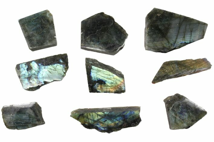 Wholesale: 1kg One Side Polished Labradorite - 9 Pieces