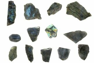 Wholesale: 1kg One Side Polished Labradorite - 13 Pieces For Sale, #84548