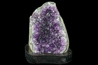 "7.1"" Purple Amethyst Cluster On Wood Base - Artigas, Uruguay  For Sale, #85844"