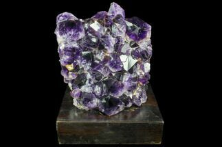 "5.6"" Dark Purple Amethyst Cluster On Wood Base For Sale, #85811"