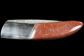 "4.3"" Pocketknife With Fossil Dinosaur Bone (Gembone) Inlays For Sale, #86540"