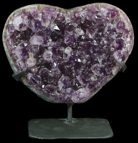 "9"" Amethyst Crystal Heart On Metal Stand - Uruguay (Special Price)"