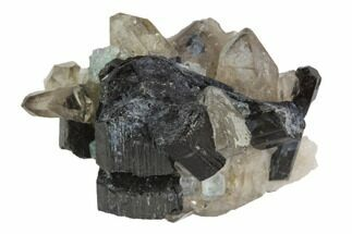 Tourmaline var. Schorl, fluorite & Smoky Quartz - Fossils For Sale - #90684