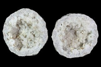 "3.5"" Keokuk Quartz and Calcite Geode Pair - Illinois For Sale, #91397"