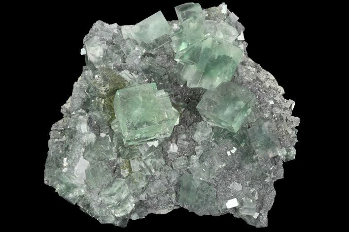 "3.8"" Fluorescent, Green, Cubic Fluorite Crystals (New Find) - China"