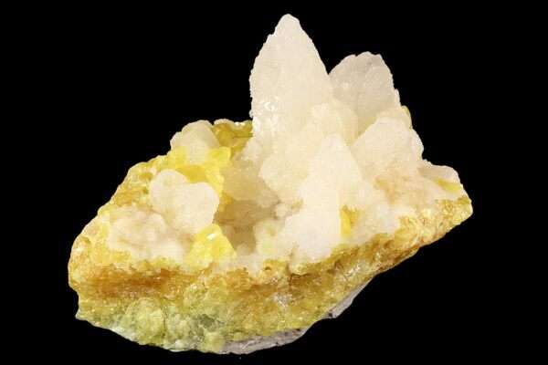 Clear celestite on sulfur from Cianciana Mine, Caltanissetta Comune, Sicily, Italy