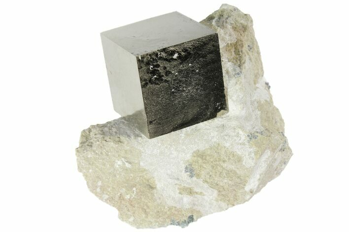 "1.06"" Pyrite Cube In Rock - Navajun, Spain"
