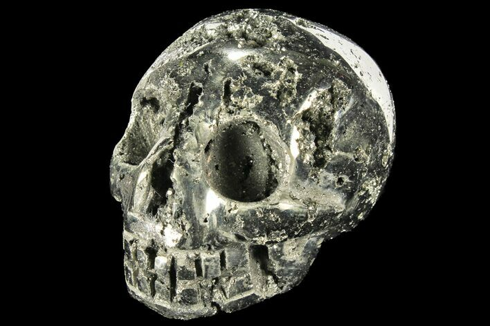 "2.9"" Polished Pyrite Skull With Pyritohedral Crystals - Peru"
