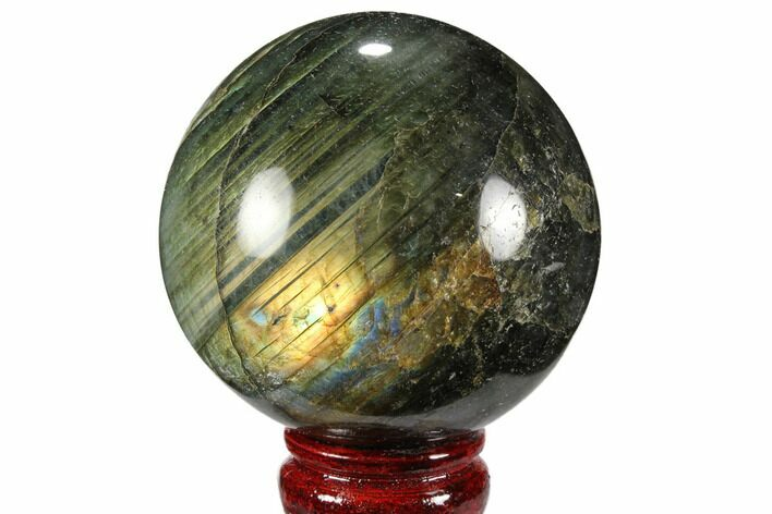 "3.15"" Flashy, Polished Labradorite Sphere - Great Color Play"