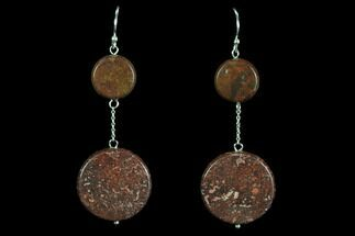 Buy Polished Fossil Dinosaur Bone (Gembone) Earrings - #93418