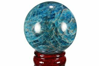 "2.5"" Bright Blue Apatite Sphere - Madagascar For Sale, #100313"