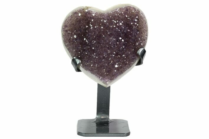 "4.9"" Amethyst Crystal Heart On Metal Stand - Uruguay"