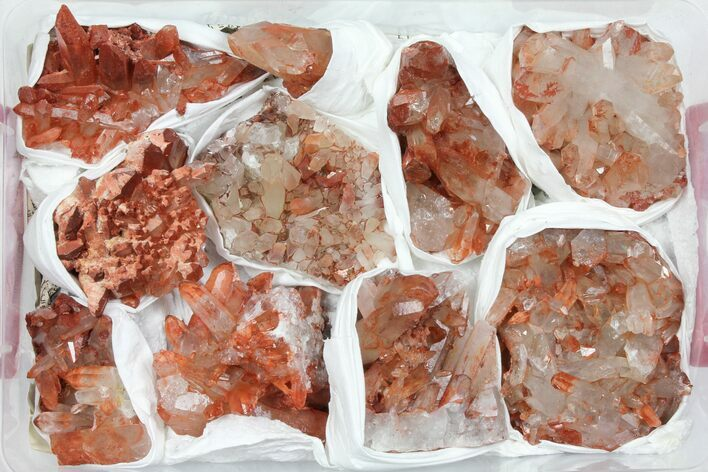 Wholesale Lot: Natural Red Quartz Crystal Clusters - 10 Pieces
