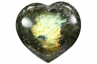 "3.8"" Flashy Polished Labradorite Heart For Sale, #58886"