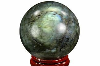 "1.7"" Flashy, Polished Labradorite Sphere - Great Color Play For Sale, #105788"