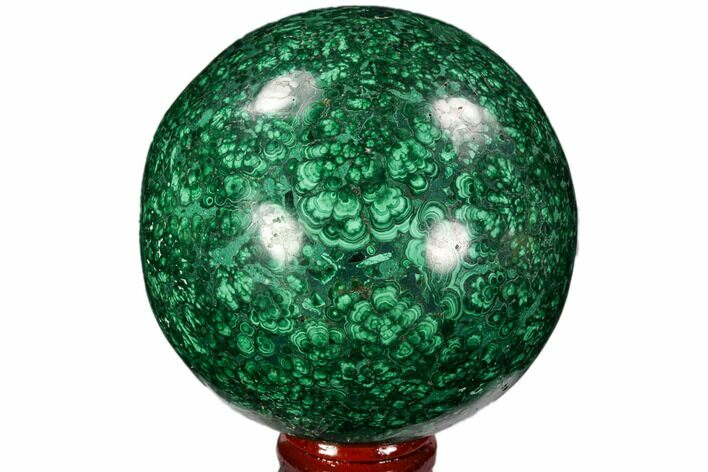 "3.05"" Flowery, Polished Malachite Sphere - Congo"