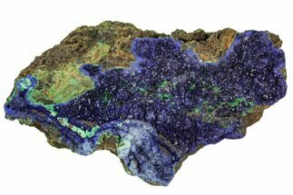 "3.6"" Sparkling Azurite Crystals With Malachite - Laos For Sale, #107198"