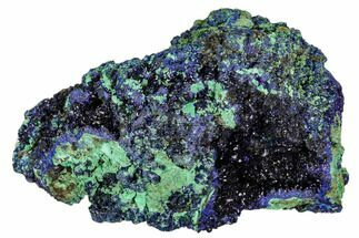 "3.6"" Sparkling Azurite Crystals With Malachite - Laos For Sale, #107201"