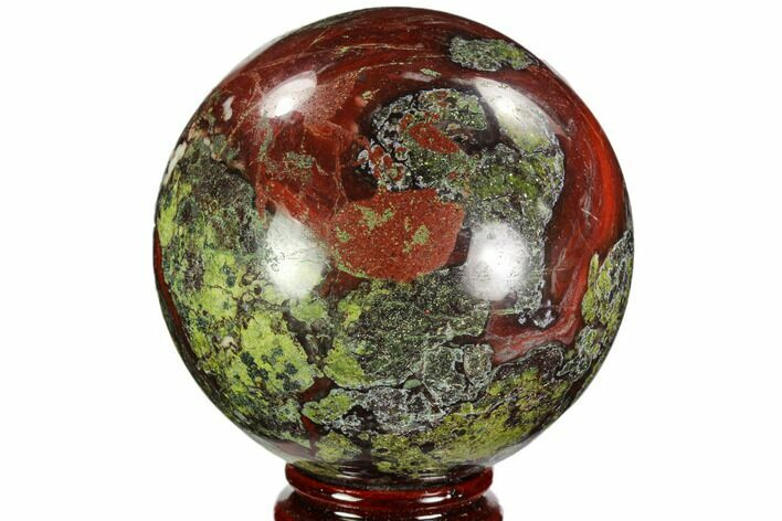 "3.4"" Polished Dragon's Blood Jasper Sphere - South Africa"