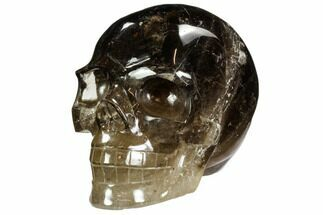 "5.7"" Carved, Dark Smoky Quartz Crystal Skull - Madagascar For Sale, #108770"