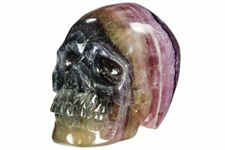 "5.9"" Colorful, Banded (Rainbow) Fluorite Skull For Sale, #108773"