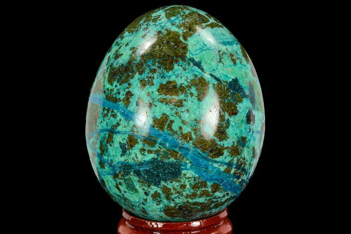 "2.1"" Polished Chrysocolla & Azurite Egg - Peru"