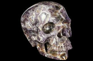 "Buy Huge, 6.8"" Realistic, Carved Chevron Amethyst Skull  - #111220"