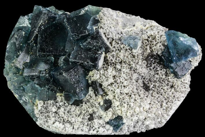 "3.4"" Cubic, Blue-Green Fluorite Crystals on Quartz - China"