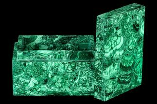 "4.5"" Wide Malachite Jewelry Box - Congo For Sale, #113051"