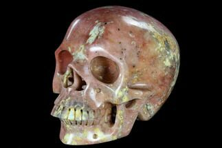 "7"" Realistic, Carved Red Sesame Jasper Skull  For Sale, #116429"