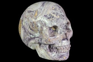 "Buy 2"" Realistic, Carved Chevron (Banded) Amethyst Skull  - #116488"