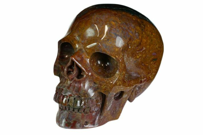 "5"" Realistic, Polished Colorful Moss Agate/Jasper Skull - India"