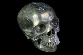 "5"" Realistic, Carved and Polished Pyrite Skull  For Sale, #116678"