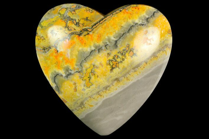 "3.15"" Polished Bumblebee Jasper Heart - Indonesia"