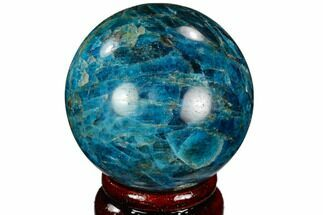 "2.25"" Bright Blue Apatite Sphere - Madagascar For Sale, #121823"