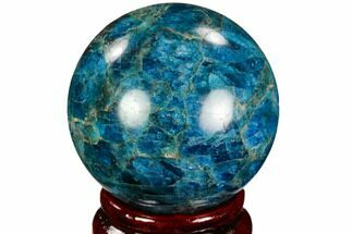 "2.05"" Bright Blue Apatite Sphere - Madagascar For Sale, #121847"