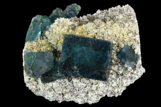 "2.8"" Cubic, Blue-Green Fluorite Crystals on Quartz - China For Sale, #121997"