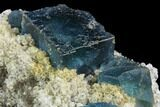 "2.8"" Cubic, Blue-Green Fluorite Crystals on Quartz - China - #121997-2"