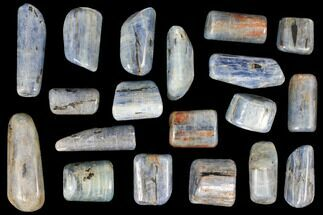 Buy 1 Lb Vibrant, Blue Kyanite Tumbled Stones From Brazil - 19 Pieces - #116248