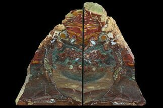 "8.8"" Red/Green Jasper Replaced Petrified Wood Bookends - Oregon For Sale, #125075"