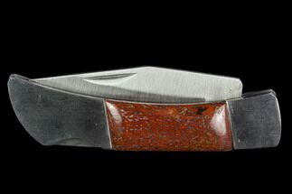 "3"" Pocketknife With Fossil Dinosaur Bone (Gembone) Inlays For Sale, #125246"