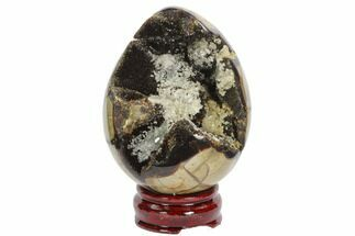 "4.4"" Septarian ""Dragon Egg"" Geode - Black Crystals For Sale, #123044"