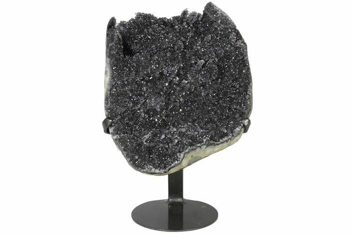 "9.4"" Sparkling Purple/Grey Quartz Geode Section - Metal Stand"