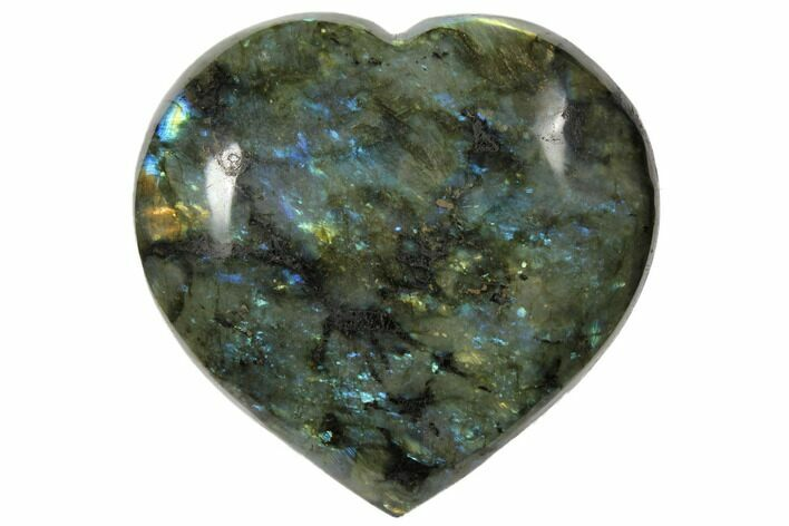 "4.7"" Flashy Polished Labradorite Heart - Madagascar"