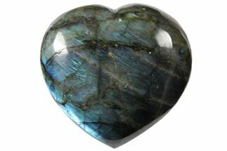 "4.8"" Flashy Polished Labradorite Heart - Madagascar For Sale, #126695"