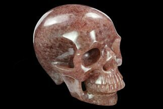 "5"" Realistic, Carved Strawberry Quartz Crystal Skull - Madagascar For Sale, #127571"