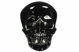 "6"" Realistic, Polished Black Obsidian Skull - Mexico For Sale, #127577"