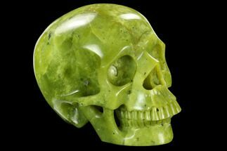 "6"" Realistic, Polished Jade (Nephrite) Skull For Sale, #127586"